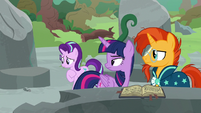 Twilight and Sunburst look annoyed at Starlight S7E25