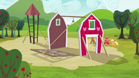 Applejack, Big McIntosh, Apple Fritter and Meadow Song raising the barn S3E03