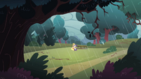 Applejack and Rarity in the rainstorm S1E08