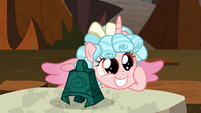 Cozy grins cutely next to Grogar's bell S9E24