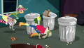 Crusaders tumbling into the theater trash area SS11.png