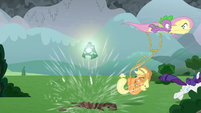 Fluttershy, Rarity, and Spike fleeing S9E25