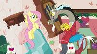 Fluttershy and Discord smiling together S7E12