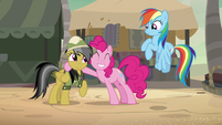 Pinkie Pie hugging Daring Do S7E18
