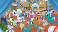 Ponies in line for the Wild Blue Yonder S8E5