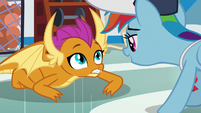 Rainbow Dash greeting Smolder S9E15