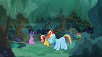 Rainbow Dash shakes off leaves and twigs EGSB