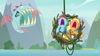 Rainbow and AJ scream in terror at Ocellus S8E9