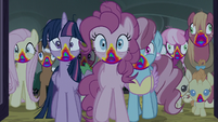 The ponies enter the barn S6E15