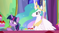 Twilight gestures toward other dinner guests S6E6