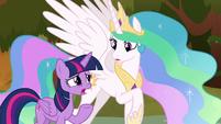 Twilight telling Celestia about Sombra S9E2