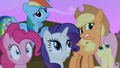 Applejack, Rainbow, Pinkie, Fluttershy and Rarity worried faces S2E3.png