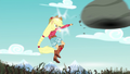 Applejack punches the boulder at the bramble wall EG4.png