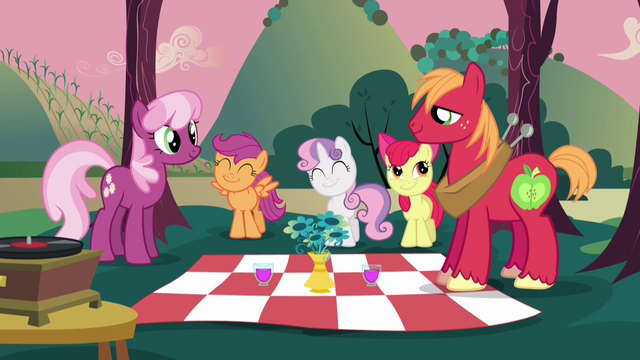 File:Cheerilee and Big Mac with CMC picnic S02E17.png