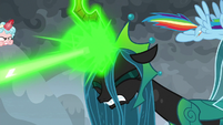 Chrysalis blasting more magic at Pinkie S9E25