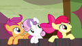 Cutie Mark Crusaders encourage Trouble Shoes S5E6.png
