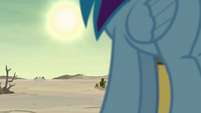 Dr. Caballeron and henchponies speed across the desert S7E18