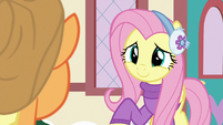 Fluttershy smiles at Applejack with relief MLPBGE