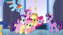 Main cast and Cadance looking back at Flash EG