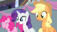 Pinkie, Rarity, and Applejack in the stands S4E24