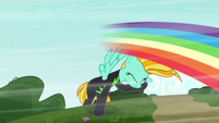 Rainbow blur speeds past Lightning Dust S8E20