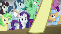 Rarity and ponies looking up at Flim S8E16