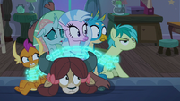 Sandbar's friends look at him in shock S8E25