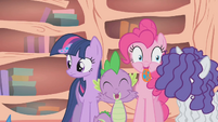 Spike bursts out laughing after Flutterguy speaks S1E09