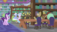 Starlight observing Dr. Hooves and yaks S9E20