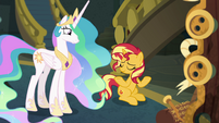Sunset Shimmer shrugging at Celestia EGFF
