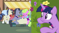 Twilight listens closer to brunch ponies' conversation S7E14