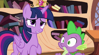 Twilight nervous and Spike about to crack S4E01