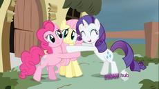 637px-S2E19 Rarity Pinkie Fluttershy hug