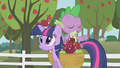 An apple hitting Twilight in the head S01E03.png
