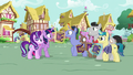 Collector ponies excited to meet Twilight S7E14.png
