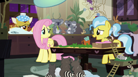 Dr. Fauna cheering up Fluttershy S7E5