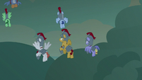 Ironhead and Legionnaires fly away from dragons S7E16