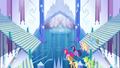 Main ponies and Peachbottom enter the castle S03E12.png