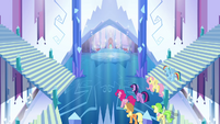 Main ponies and Peachbottom enter the castle S03E12