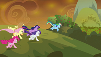 Mane Six galloping to Ponyville S9E2