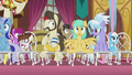Ponies flying into their wedding seats S5E9.png