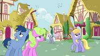 Ponies in Ponyville hear Apple Bloom's echo S9E23