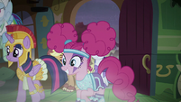 Rainbow, Twilight, and Pinkie enter the cottage S5E21