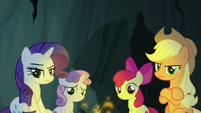 Rarity and AJ look disapprovingly at Rainbow S7E16
