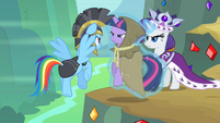 Rarity putting Twilight in front of Rainbow Dash S2E11