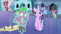 Starlight levitates Spike onto the stool S6E1