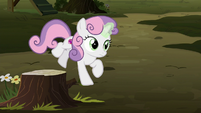 Sweetie Belle jumping off the tree stump S8E10