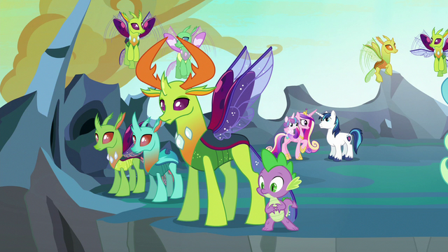 File:Thorax and Spike watch Queen Chrysalis fly away S6E26.png
