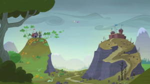 Twilight and Fluttershy between two hills S5E23