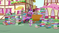 Twilight and Spike surrounded by books S8E18